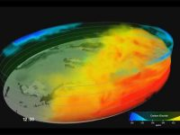Поток раскаленного металла внутри Земли